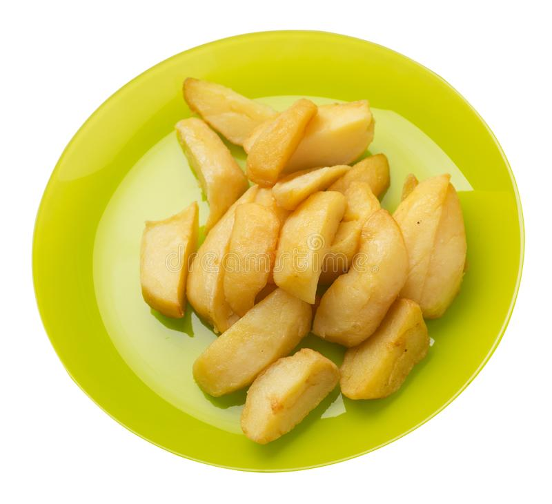 Fried potato wedges on a plate. fried potato veggies isolated on white background.   food top view stock image