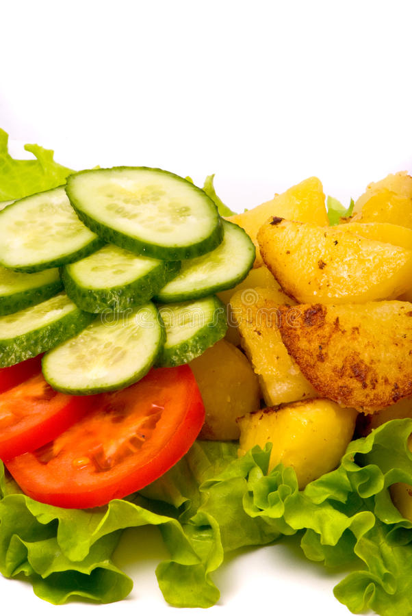 Download Fried Potatoes With Fresh Cucumbers And Tomatoes Stock Photo - Image: 11497140