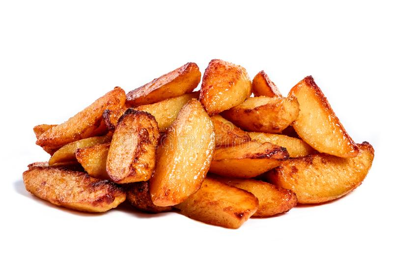 Fried potatoes isolated on white background stock photography