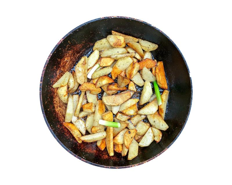 Fried potatoes with onions. royalty free stock images