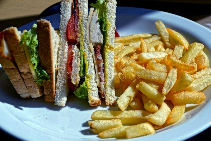 Fried potatoes with a sandwich on a white plate. In a restaurant stock images