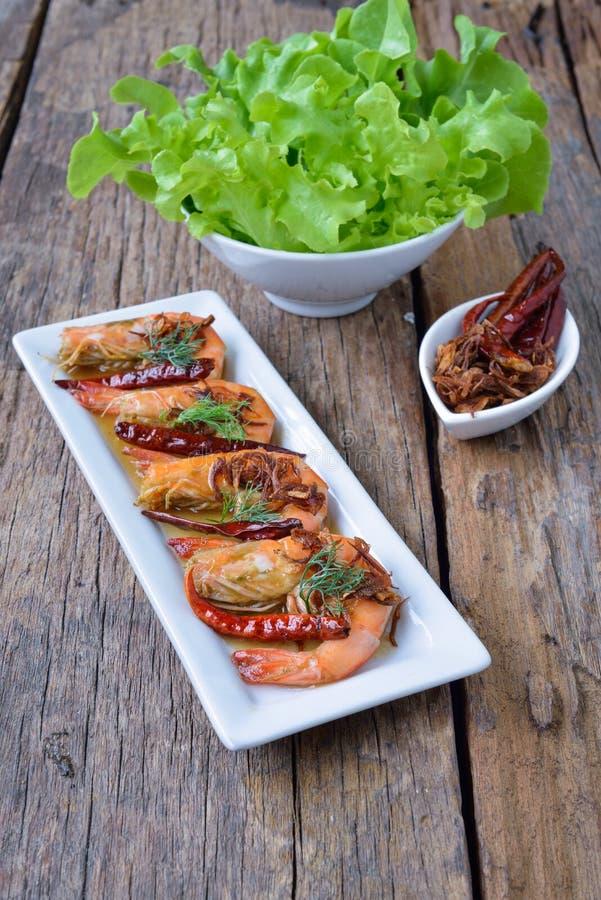 Fried Prawn-garnalen met Tamarindesaus stock foto's