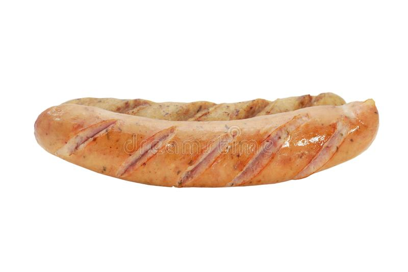 Fried rökte korvar eller bratwursten som isolerades på vit bakgrund royaltyfri fotografi