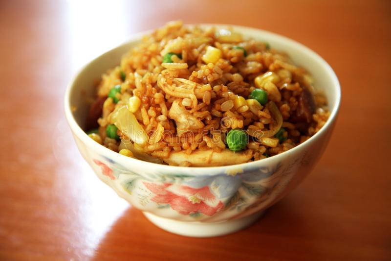 Fried rice. In a bowl royalty free stock photos