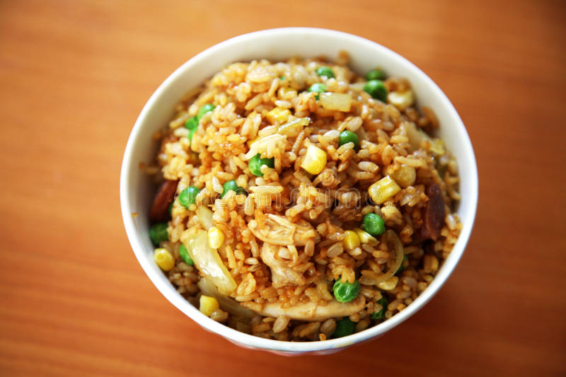 Fried rice. In a bowl royalty free stock images