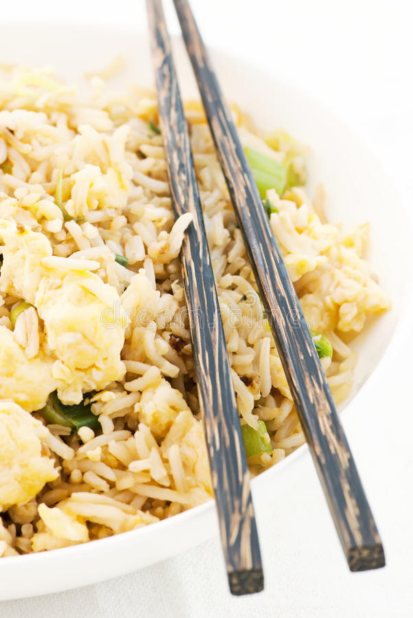 Fried rice. With eggs and spring onion stock photo
