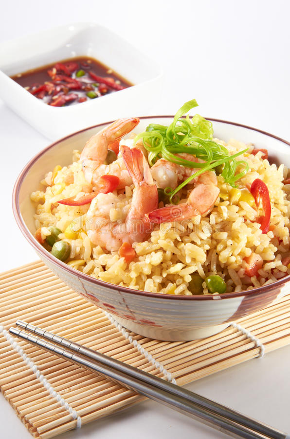 Fried Rice. Oriental fried rice with clean lighting stock images