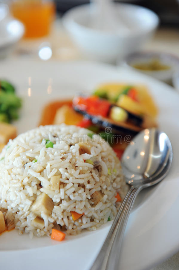 Fried rice. Delicious Chinese style vegetarian fried rice royalty free stock photo
