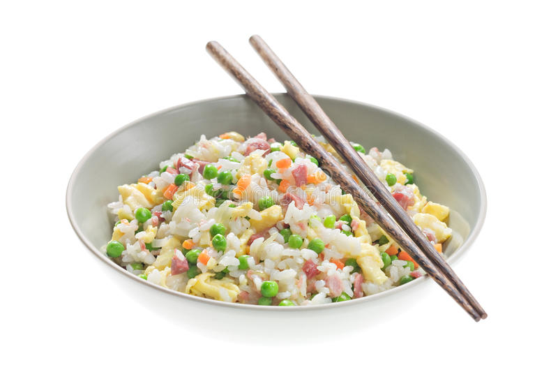 Fried Rice. In Bowl. Chopsticks stock photography
