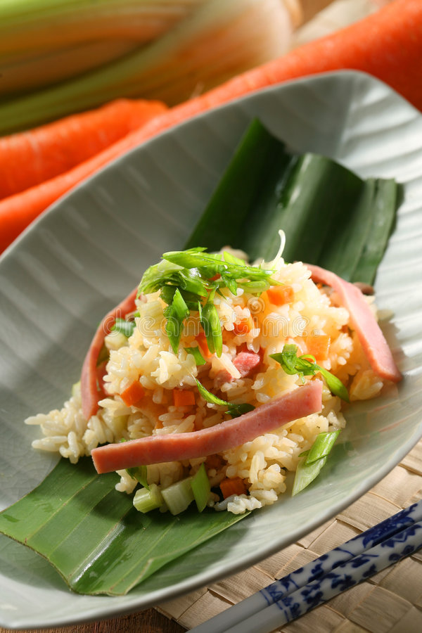 Fried rice. With ham and vegetable stock photography