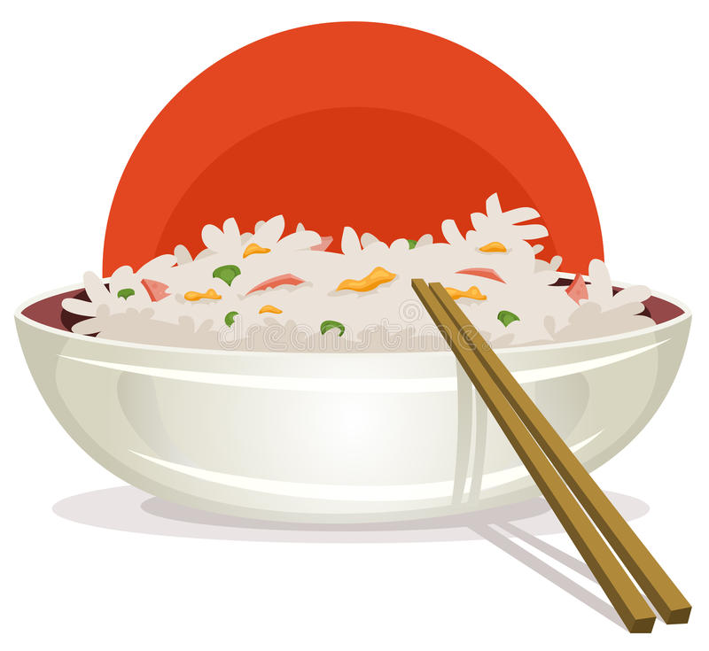 Fried Rice With Asian Chopsticks stock illustration