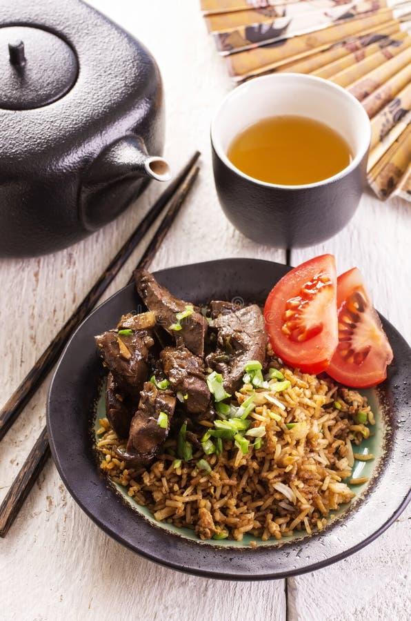 Fried Rice avec du foie photographie stock