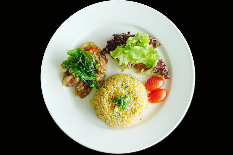 Fried rice and basil duck meats. With fresh salad royalty free stock photo