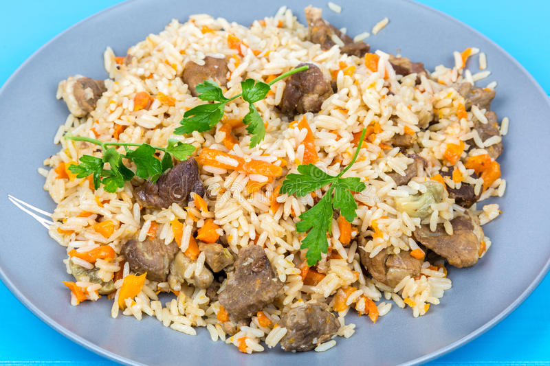 Fried rice with beef on a plate. View of fried rice with beef on a plate stock images