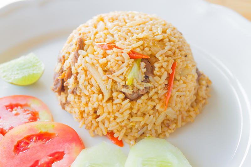 Fried Rice with beef. Thai food royalty free stock image