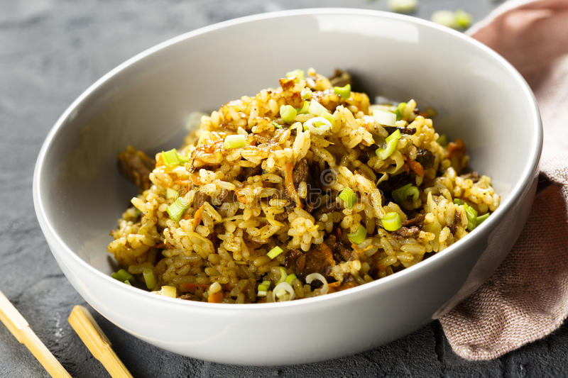 Fried rice with beef royalty free stock image