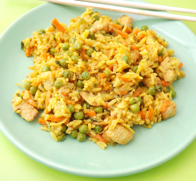 Fried rice with chicken. Fresh asian fried rice with chicken royalty free stock image