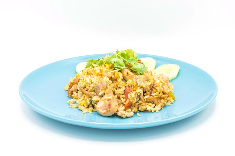 Fried rice with chicken. Isolated on white background royalty free stock image