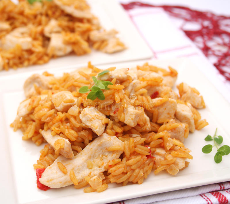 Fried rice with chicken. Some fresh fried rice with chicken royalty free stock photo