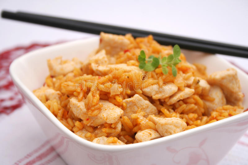Fried rice with chicken. Some fresh fried rice with chicken stock images