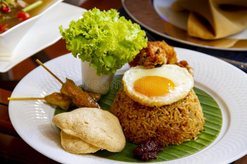 fried rice with chili tomyum paste - Thai halal food stock photography