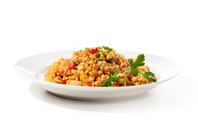 Fried Rice. Chinese Cuisine - Fried Rice with Vegetables and Meat royalty free stock photography