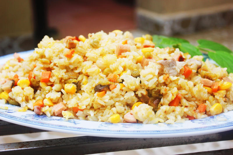 Fried rice in Chinese style on dish royalty free stock images