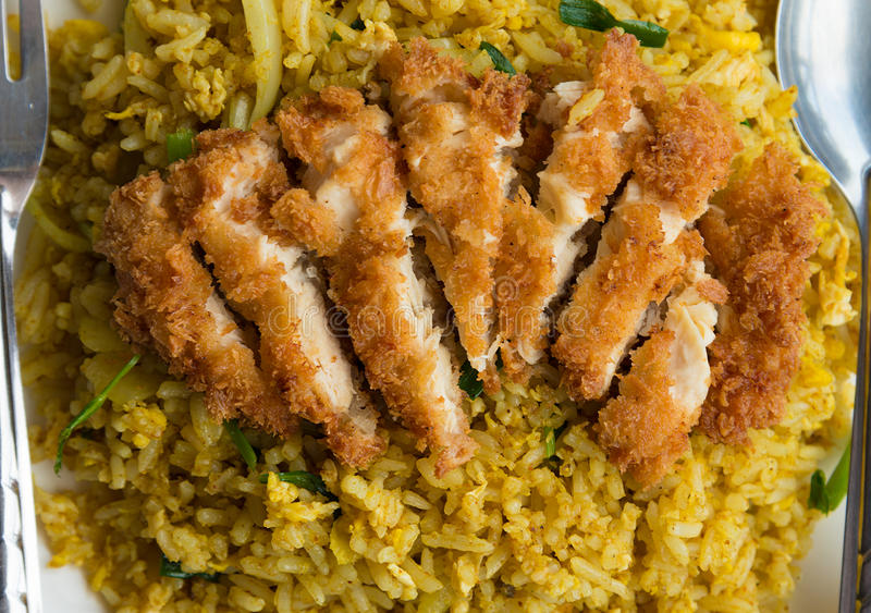 Fried Rice con il pollo croccante immagini stock libere da diritti