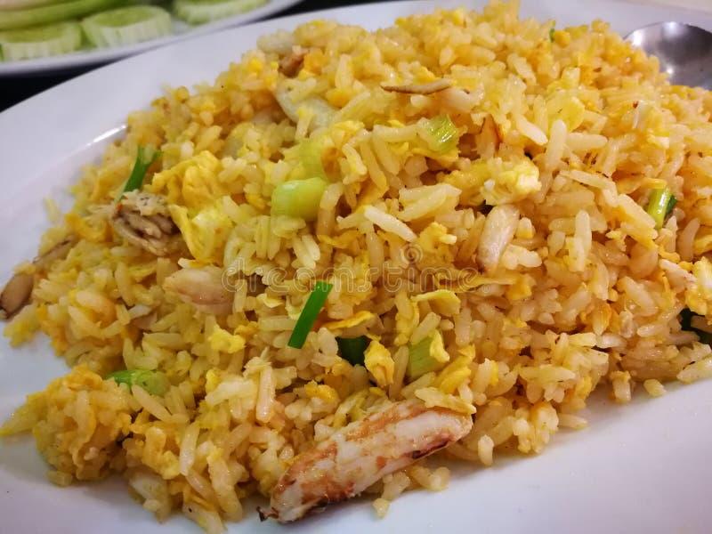 Fried Rice con le uova e la verdura del granchio fotografia stock libera da diritti