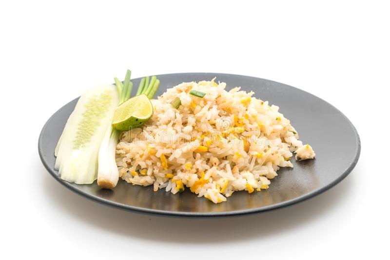 Fried rice with Crab. Isolated on white backgorund stock image