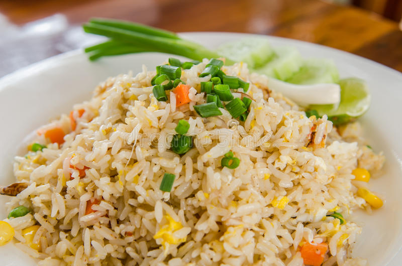 Fried rice. With meat stock photo