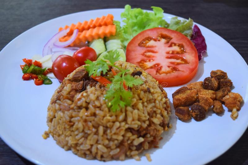 Fried Rice ed insalata a Chiang Mai Royal Project fotografia stock