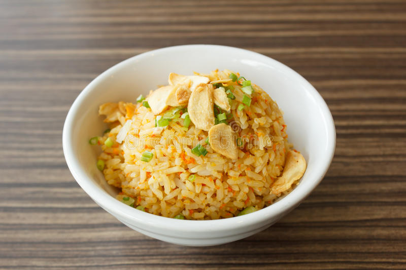 Fried rice with garlic royalty free stock photography
