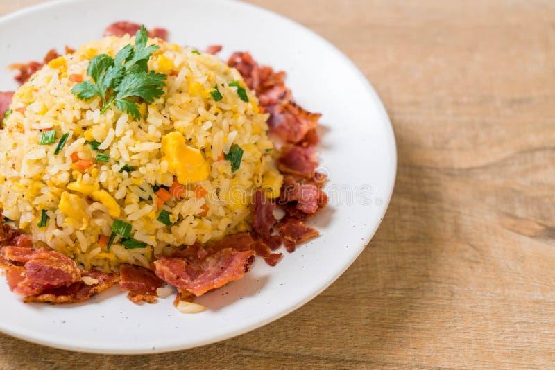 Fried Rice met Bacon stock foto's
