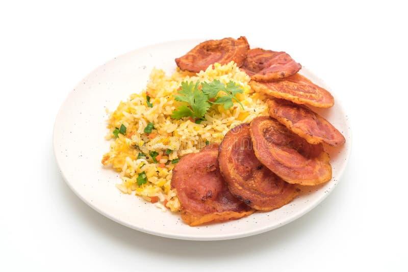 Fried Rice met Bacon stock afbeelding