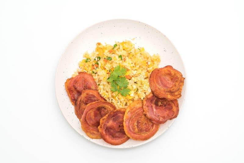 Fried Rice met Bacon stock fotografie