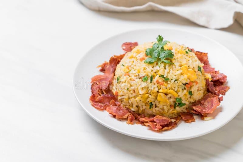 Fried Rice met Bacon stock afbeeldingen