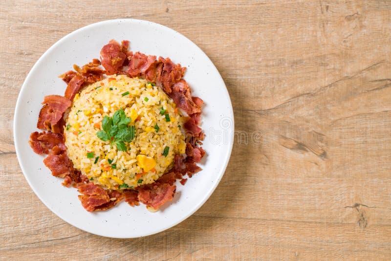 Fried Rice met Bacon royalty-vrije stock afbeeldingen