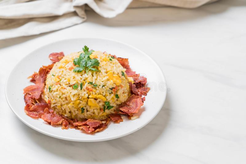 Fried Rice met Bacon stock foto