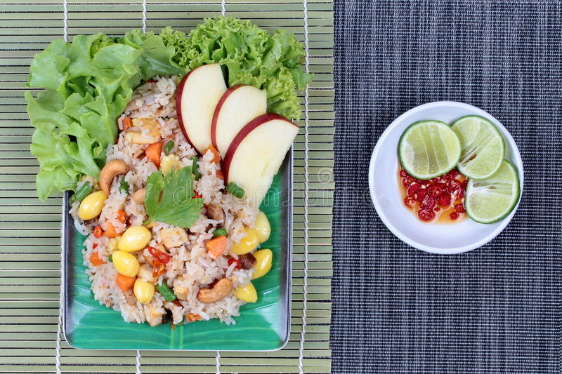 Fried rice with mixed vegetable and side dish in Vegetable festival of Chinese stock photos