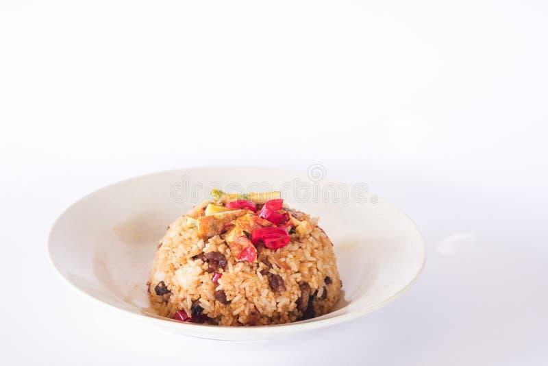 Fried Rice. Motton or Lamb fried rice on isolated white background stock photo