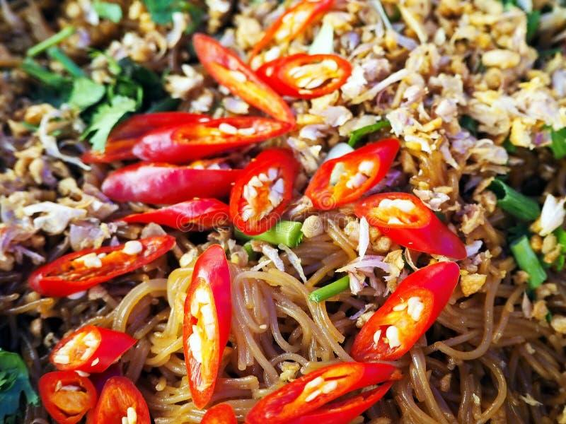 Fried Rice Noodles met Sojaboonsaus stock foto's