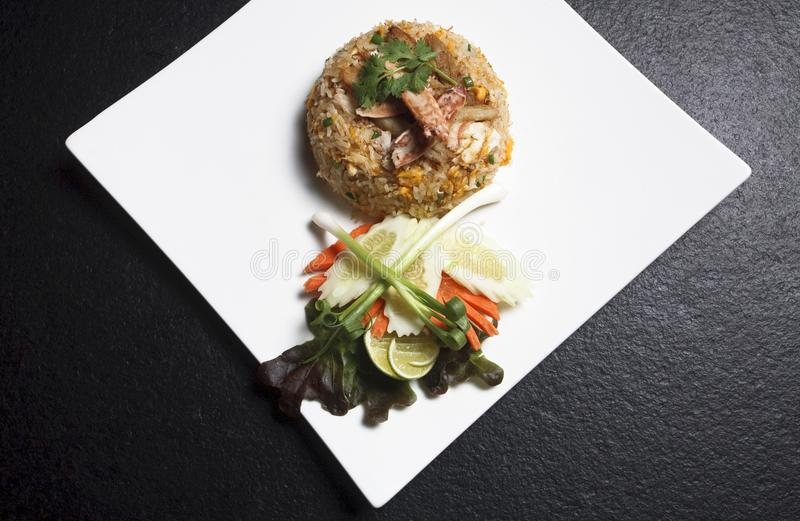 Fried Rice oriental stir onion chopsticks chicken thai food royalty free stock photography