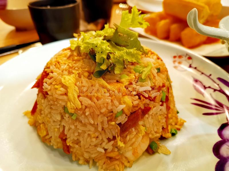 Fried rice on a plate stock photography