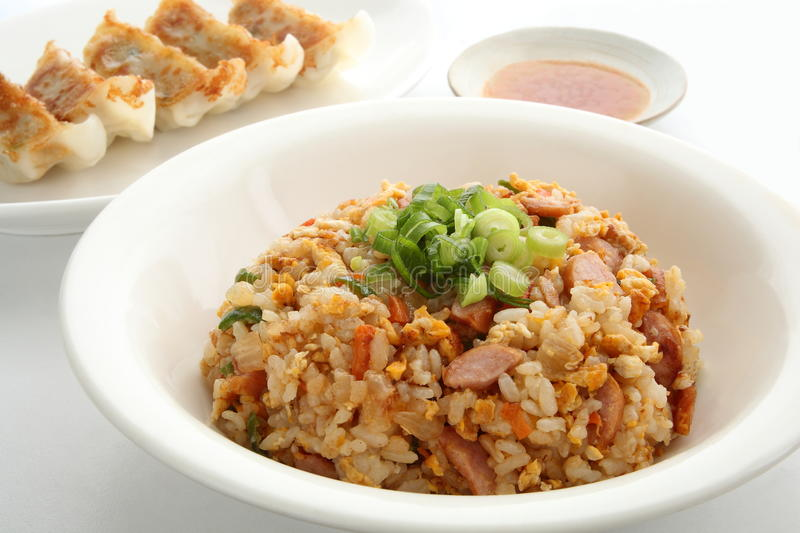 Fried Rice and Pot Stickers, Chinese Food stock image