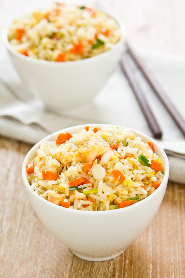 Fried rice with prawn and crab stock image