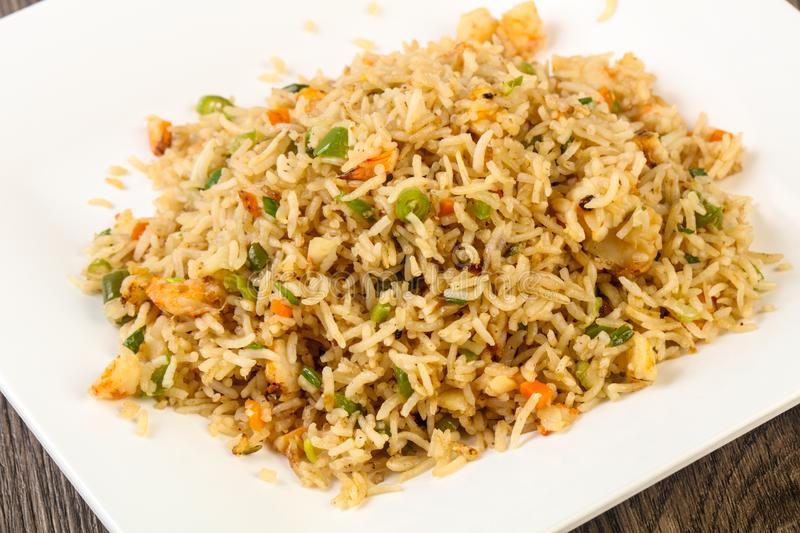Fried rice with prawn stock image
