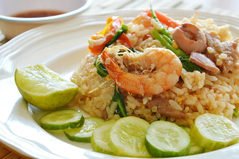 Fried rice prawn and pork with chili fish sauce. Cup stock photo