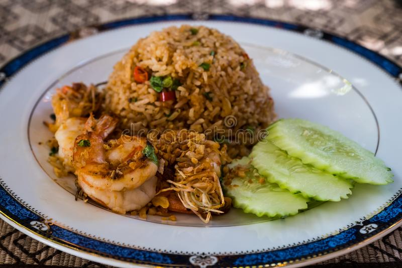 Fried rice prawn royalty free stock photography