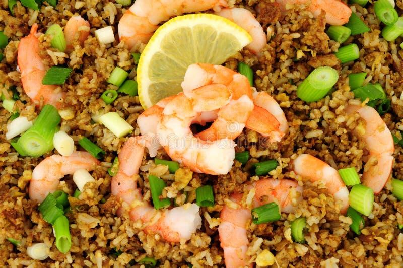Fried Rice With Prawns Background immagini stock libere da diritti